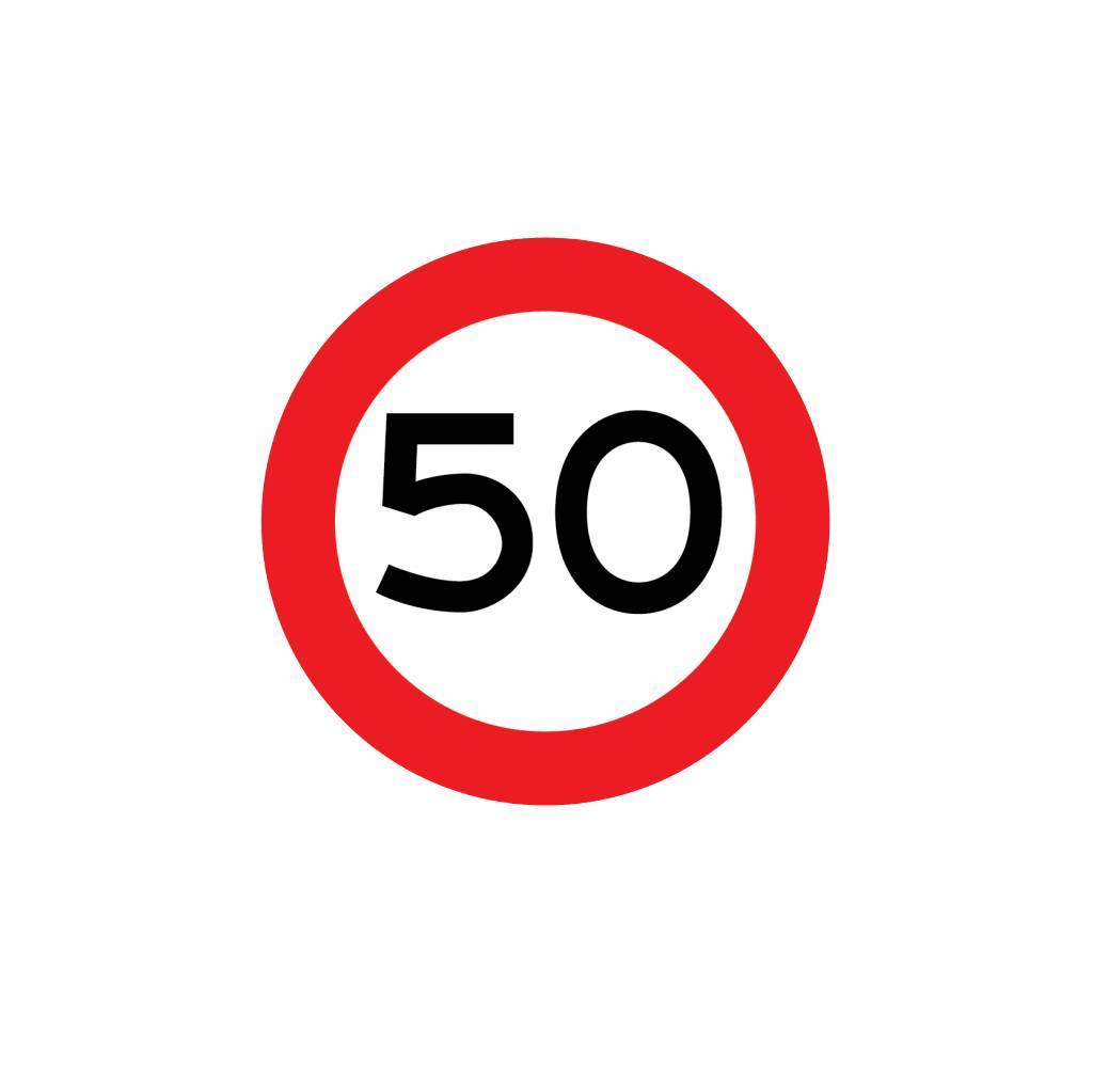Maximumsnelheid 50 km Sticker