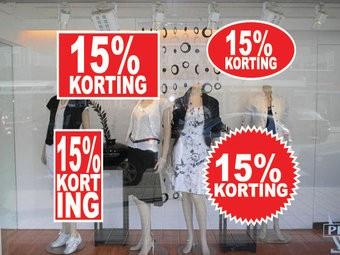 Lot d'autocollants 15% korting  (4 autocollants)