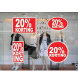 """Set """"20% korting"""" Sticker auf Niederländisch (4 Sticker)"""