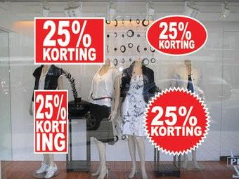"""Set """"25% korting"""" Sticker auf Niederländisch (4 Sticker)"""
