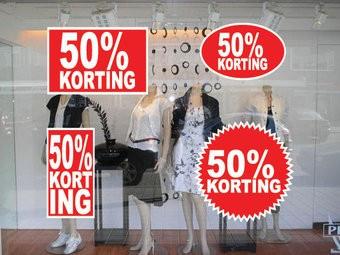 """Set """"50% korting"""" Sticker auf Niederländisch (4 Sticker)"""