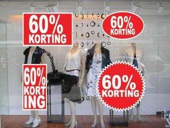 """Set """"60% korting"""" Sticker auf Niederländisch (4 Sticker)"""