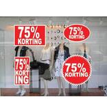 """Set """"75% korting"""" Sticker auf Niederländisch (4 Sticker)"""