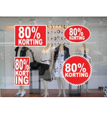 """Set """"80% korting"""" Sticker auf Niederländisch (4 Sticker)"""