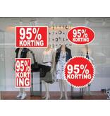 """Set """"95% korting"""" Sticker auf Niederländisch (4 Sticker)"""
