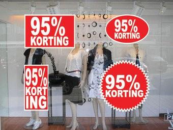Lot d'autocollants 95% korting  (4 autocollants)