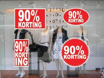 """Set """"90% korting"""" Sticker auf Niederländisch (4 Sticker)"""