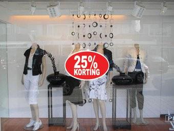 """Ovale """"25% korting"""" Sticker auf Niederländisch"""