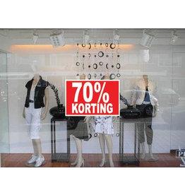 """Rechteckige """"70% korting"""" Sticker auf Niederländisch"""