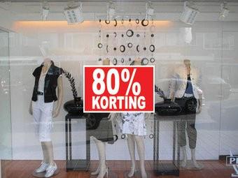"""Rechteckige """"80% korting"""" Sticker auf Niederländisch"""