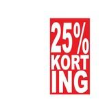 """Rechteckige """"25% korting"""" Sticker auf Niederländisch"""