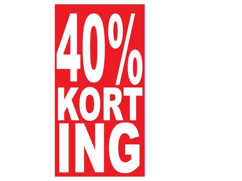 """Rechteckige """"40% korting"""" Sticker auf Niederländisch"""