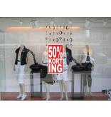 """Rechteckige """"50% korting"""" Sticker auf Niederländisch"""