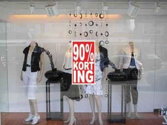"""Rechteckige """"90% korting"""" Sticker auf Niederländisch"""