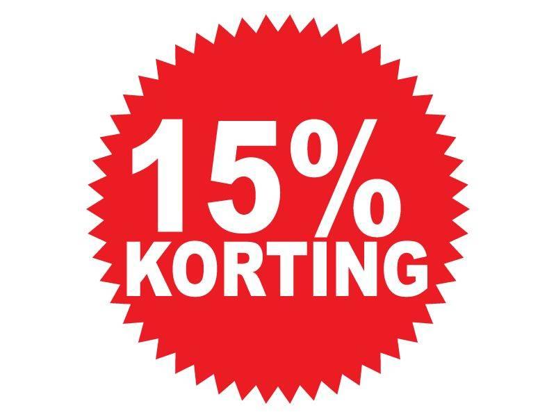 """Runde """"15% korting"""" Sticker auf Niederländisch"""
