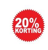 """Runde """"20% korting"""" Sticker auf Niederländisch"""