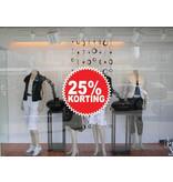 """Runde """"25% korting"""" Sticker auf Niederländisch"""