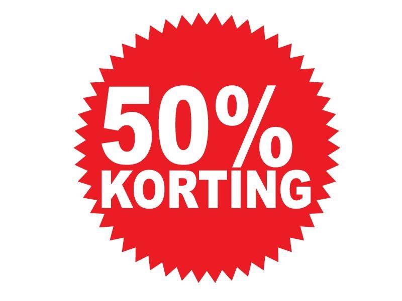 """Runde """"50% korting"""" Sticker auf Niederländisch"""