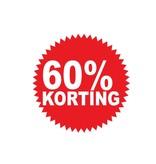 """Runde """"60% korting"""" Sticker auf Niederländisch"""