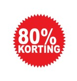 """Runde """"80% korting"""" Sticker auf Niederländisch"""