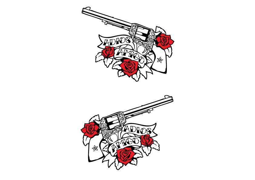Dekoration Guns & Roses black/white Aufkleber