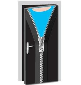 Offener Reißverschluss Tür Aufkleber