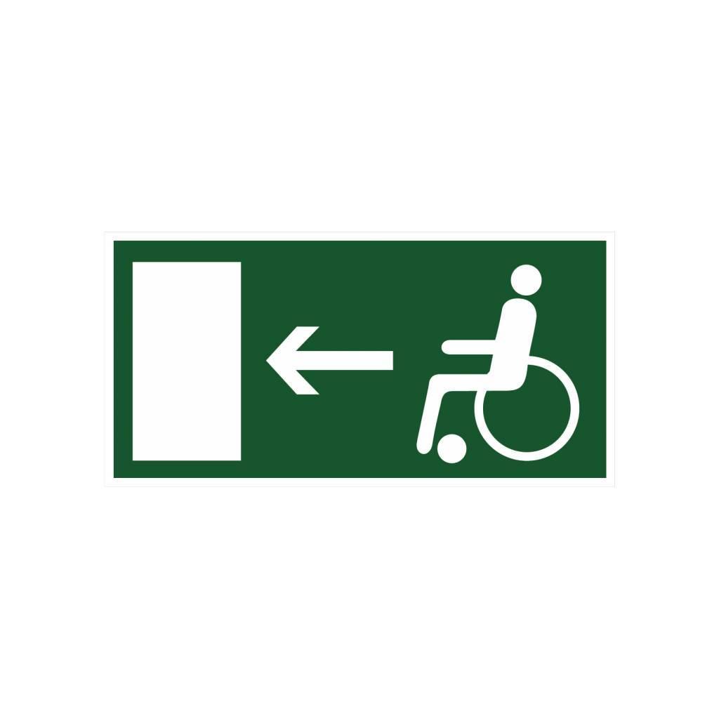 Vluchtweg voor gehandicapten links sticker
