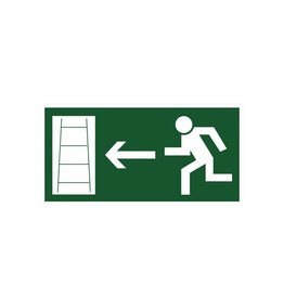 Escape route via emergency ladder left sticker