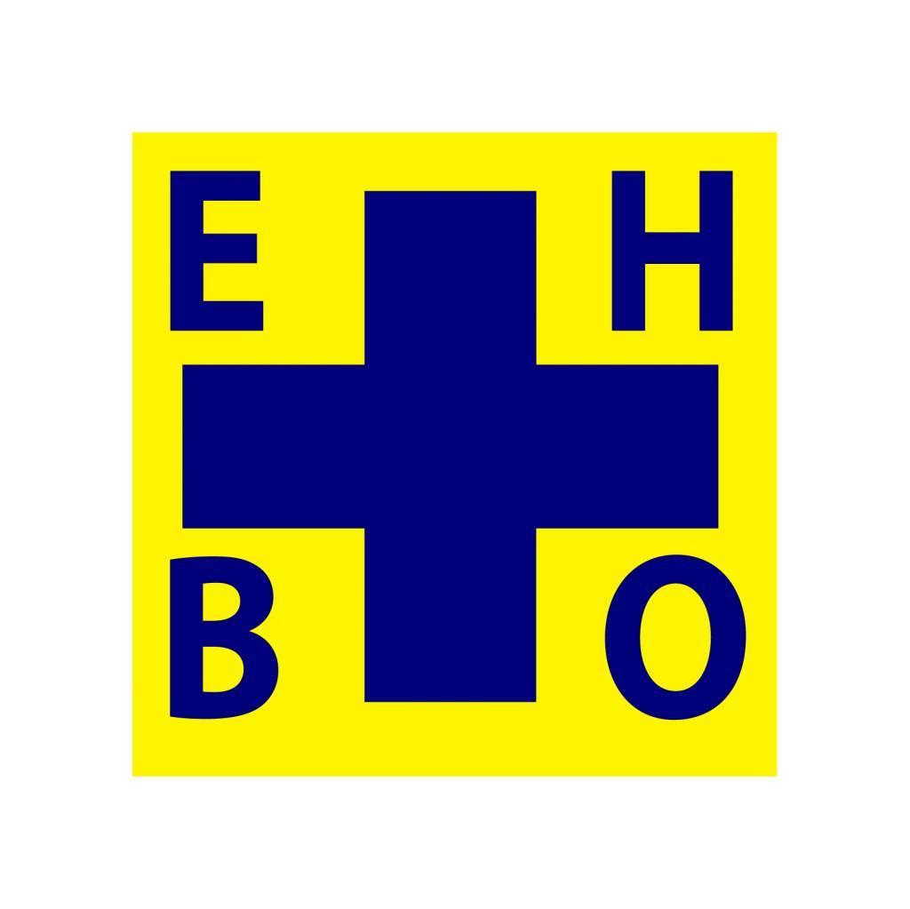 EHBO kruis blauw/geel Sticker