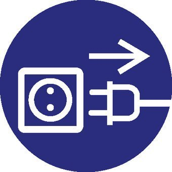 Voor openen stekker uit stopcontact trekken Sticker