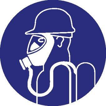 Zware ademhalingsbescherming verplicht Sticker