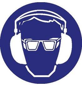 Eye- and hearing protection mandatory sticker