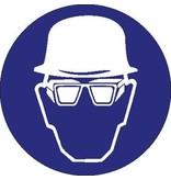 Dragen van helm en bril met zijschilden verplicht Sticker
