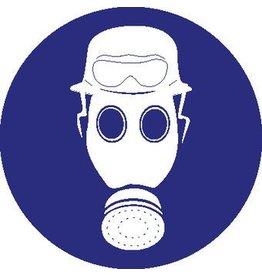 Helm, gasmasker en vuurbril verplicht Sticker