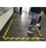 La pegatina de la línea del piso mantiene la distancia 1.5 metros