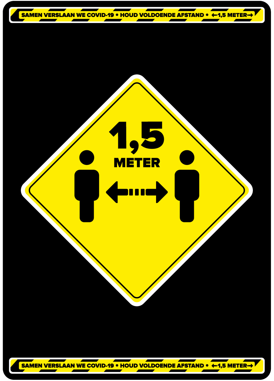 Easydot Wit Warning stickers: Keep distance 60cm x 85cm