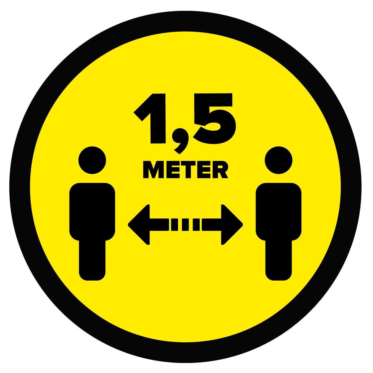 Vloersticker afstand bewaren 1,5 Meter (Rond) - Dr.Sticker
