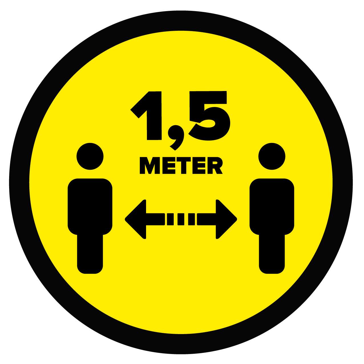 Vloersticker afstand bewaren 1,5 Meter (25 cm Rond)