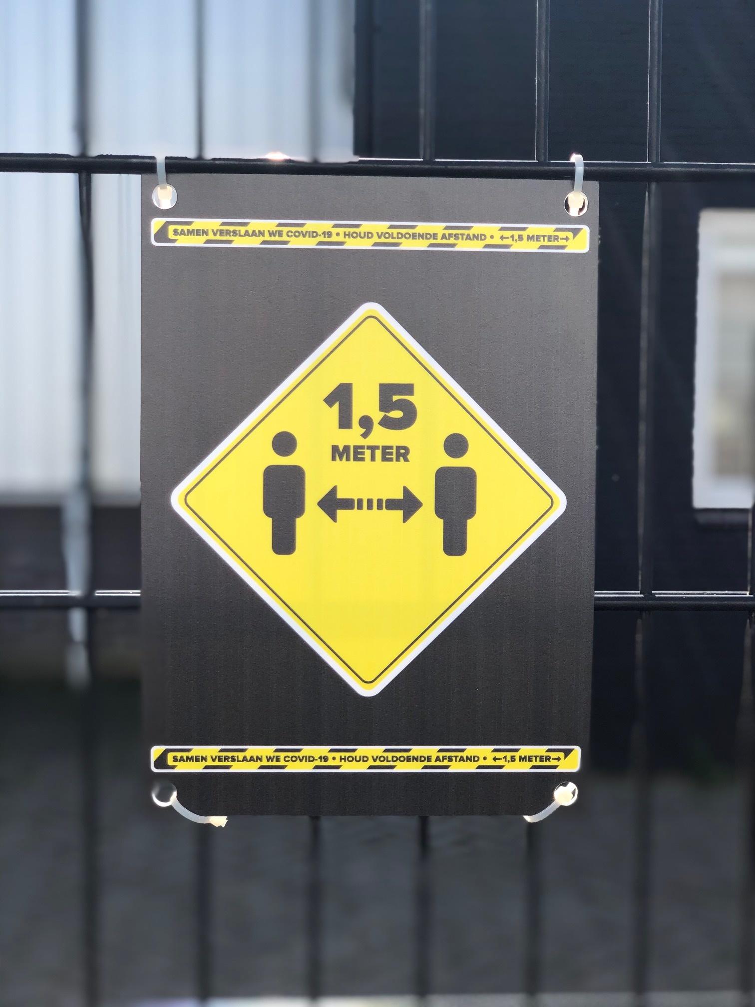 Keep sign 1.5 meters away