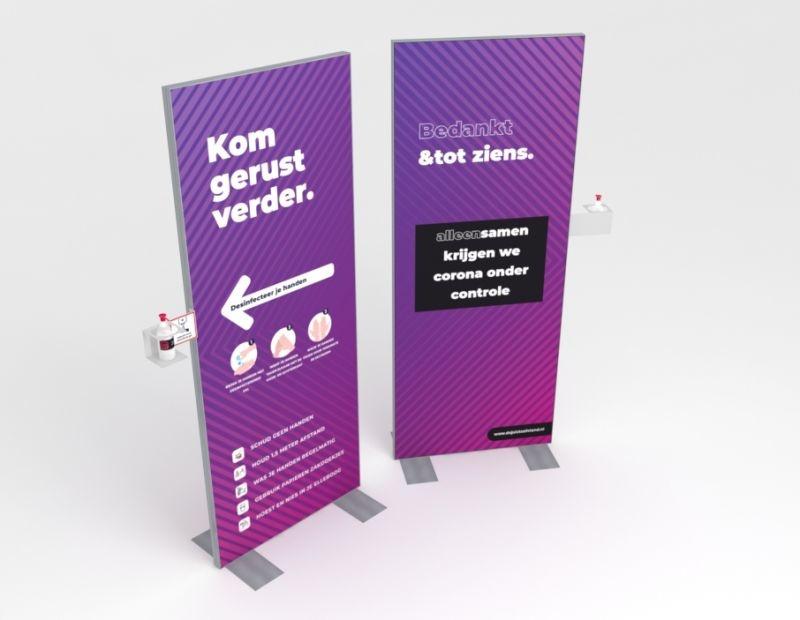 Welkom desinfectie display 80 x 200 cm incl handzeep