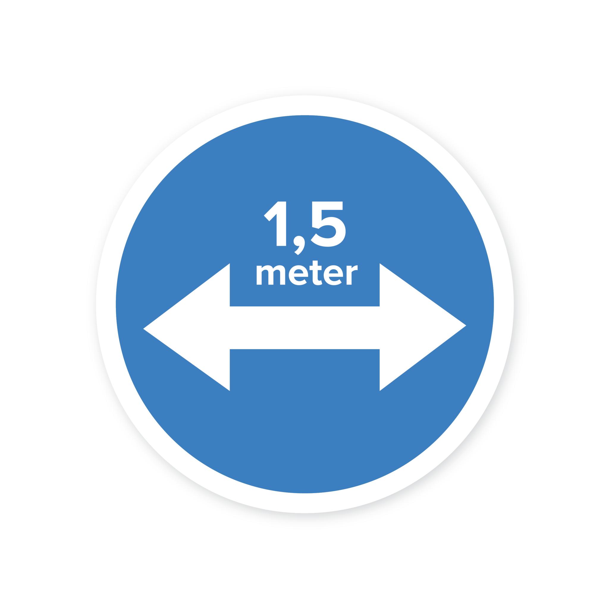 Easydot Wit Mandato de pegatina mantener distancia 1,5 mtr