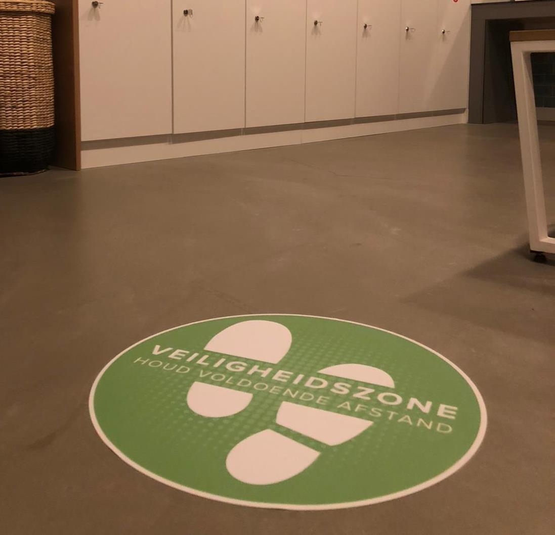 Bodenaufkleber Sicherheitszone (42 cm rund) Abstand halten
