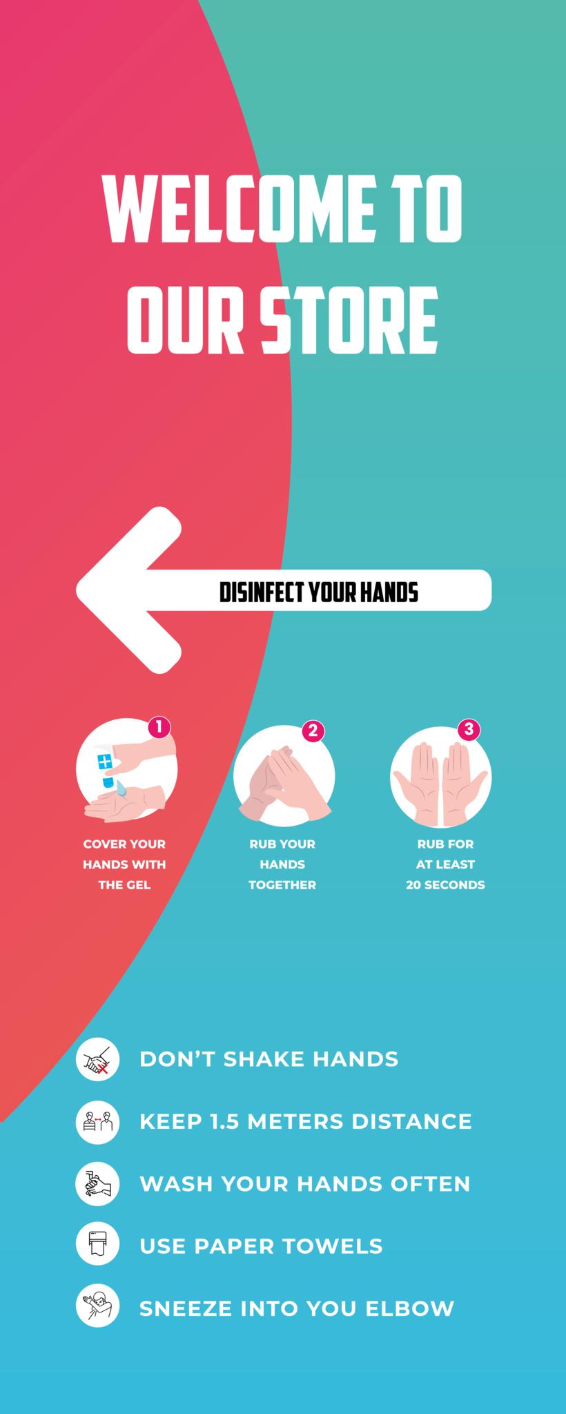 Pantalla de desinfección Welcome incl hand gel