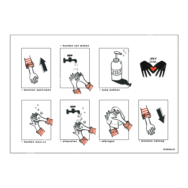 Stickerset  Hygiëne school Goed handen wassen