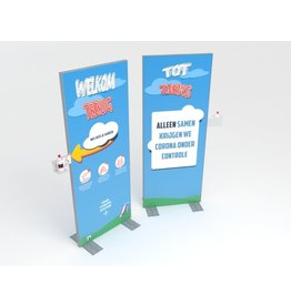 Hand disinfection display 80 x 200 cm school