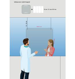 Pantalla de seguridad pantalla de tos colgando