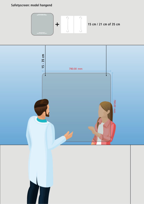 Veiligheidsscherm hangend / 78cm x 78cm  (bxh)
