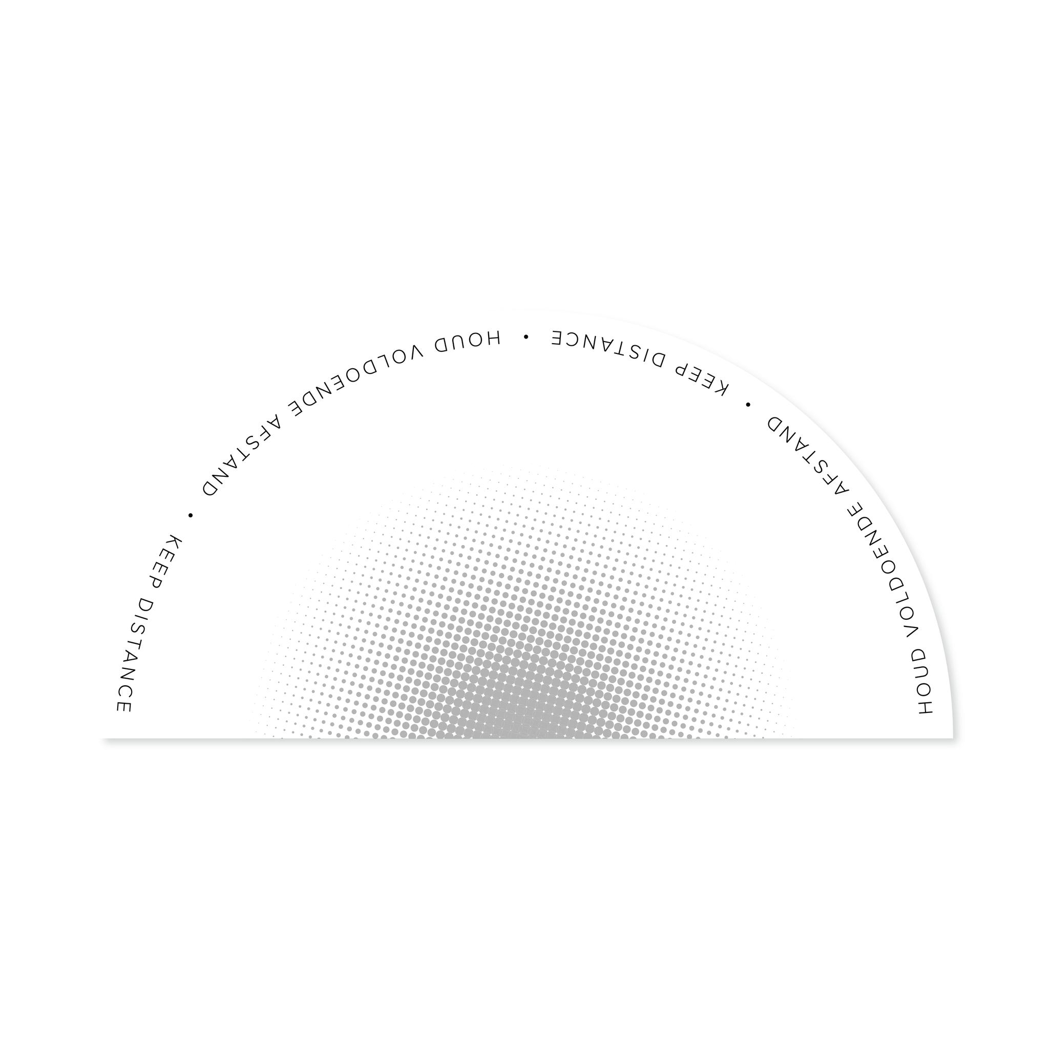Vloerzeil werkplek, halve cirkel 1,5 meter