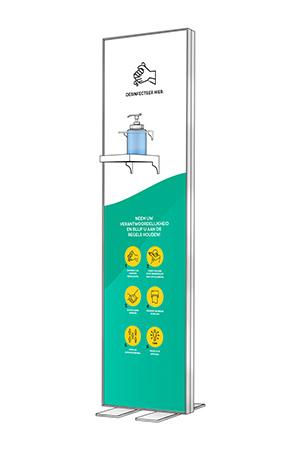 Columna de desinfección Luxe 40 x 145 cm, incluido desinfectante