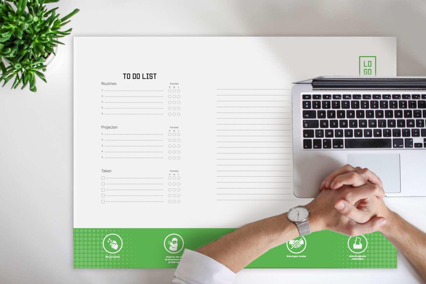 Bureau placemats bedrukt eigen logo of ontwerp